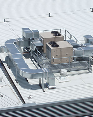 Cooling system on building roof